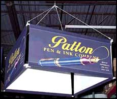 patton pen and ink ceiling event sign